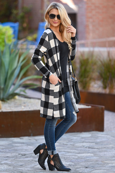 Look This Way Plaid Cardigan - Ivory & Black women's long buffalo plaid sweater closet candy boutique 3