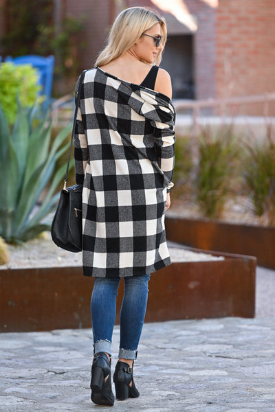 Look This Way Plaid Cardigan - Ivory & Black women's long buffalo plaid sweater closet candy boutique 4