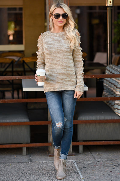Thinkin' About You Sweater - Oatmeal two-tone women's long sleeve top, cutouts on sleeves, closet candy boutique 4
