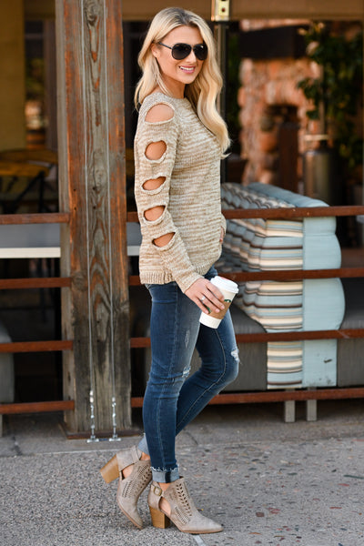 Thinkin' About You Sweater - Oatmeal two-tone women's long sleeve top, cutouts on sleeves, closet candy boutique 2