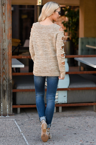 Thinkin' About You Sweater - Oatmeal two-tone women's long sleeve top, cutouts on sleeves, closet candy boutique 3