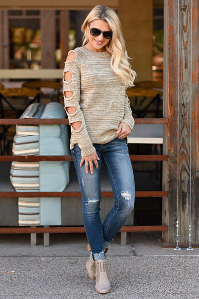 Thinkin' About You Sweater - Oatmeal two-tone women's long sleeve top, cutouts on sleeves, closet candy boutique 1
