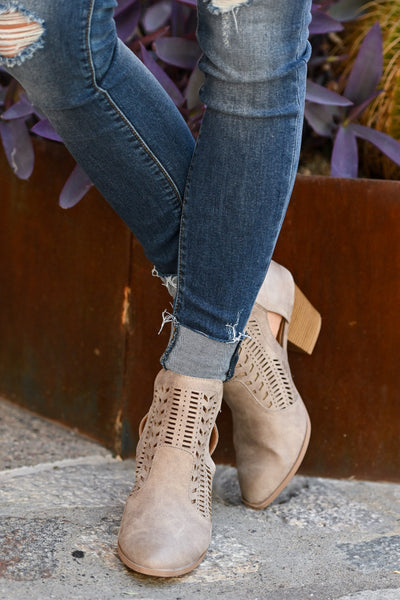 Becca Booties - Taupe cutout buckle booties closet candy boutique 2