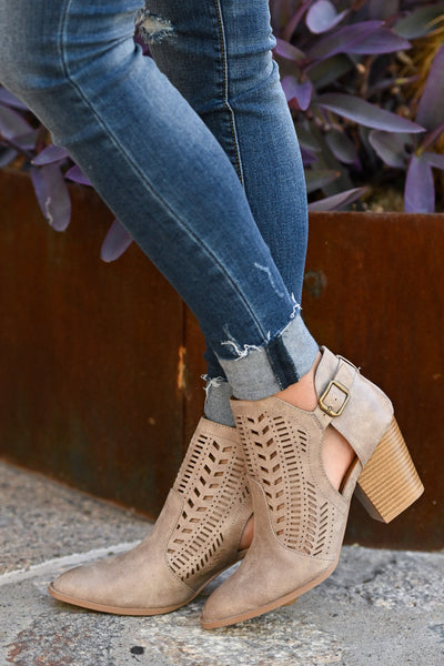 Becca Booties - Taupe cutout buckle booties closet candy boutique 1