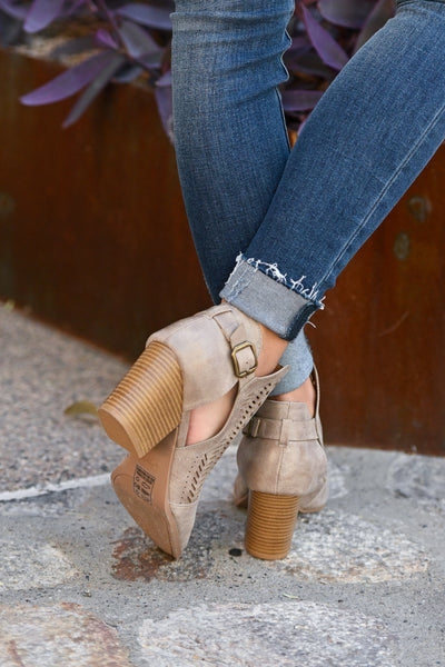 Becca Booties - Taupe cutout buckle booties closet candy boutique 3