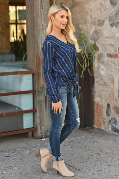 Got My Attention Tie Front Top - Navy striped print women's tie front top, Closet Candy Boutique 2