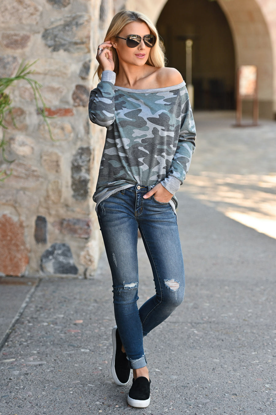 Tell Me Your Secrets Top - Camo women's long sleeve off the shoulder top, closet candy boutique 1