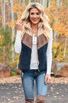 You Da, You Da Vest - Multi womens trendy multi color fuzzy color block vest closet candy front