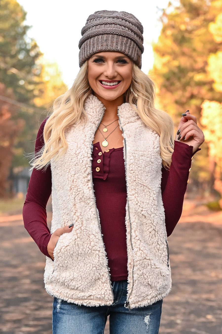 Friend In Me Sherpa Vest - Oatmeal womens trendy zipper front high neckline vegan fleece sherpa vest closet candy front