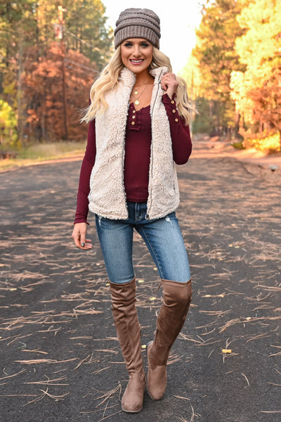 Worth It Long Sleeve Top - Wine womens casual long sleeve scoop neckline top closet candy with vest