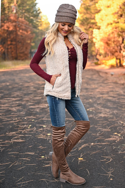 Friend In Me Sherpa Vest - Oatmeal womens trendy zipper front high neckline vegan fleece sherpa vest closet candy side
