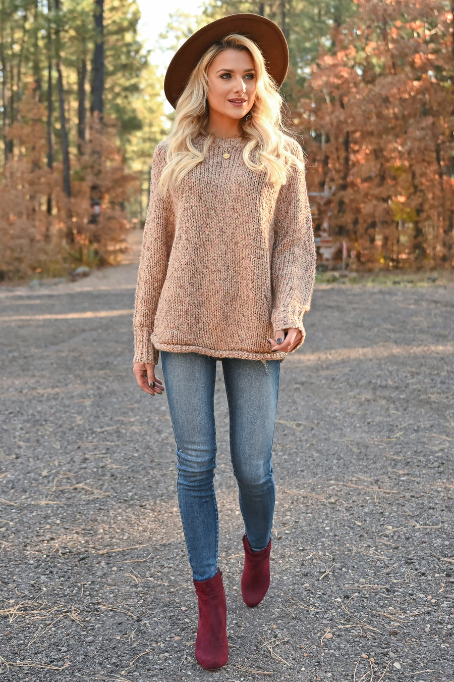 Coffee Morning Sweater - Latte womens trendy marled knit sweater long sleeve closet candy front