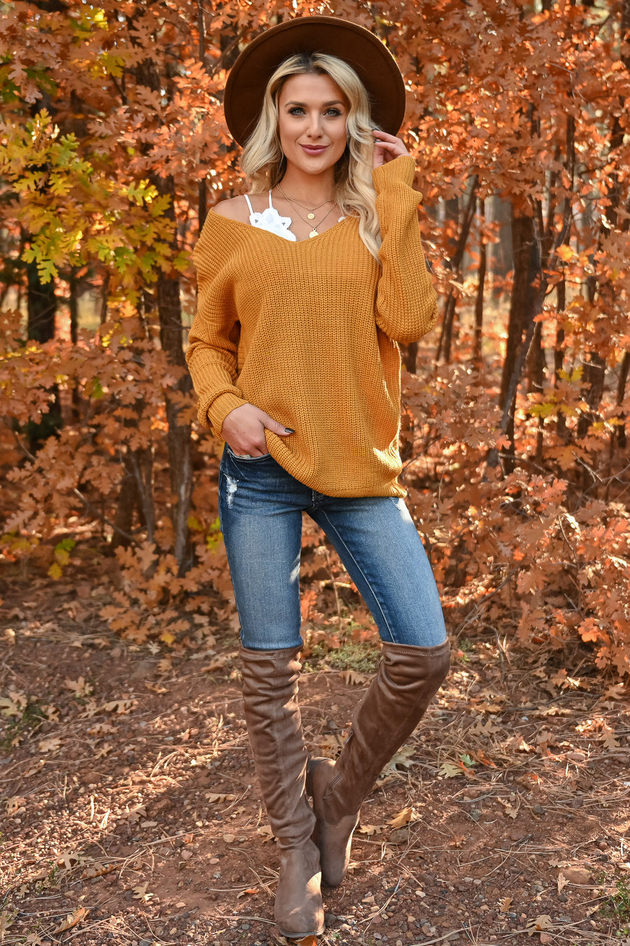 In Perfect Harmony Sweater - Mustard womens trendy v-neck long sleeve twist knit sweater closet candy back