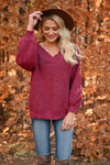 Keep It Up V-Neck Sweater - Wine womens casual oversized v-neck long puff sleeve closet candy front