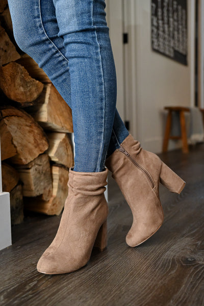 Annie Slouchy Ankle Booties - Taupe womens trendy began suede taupe slouchy ankle booties closet candy front