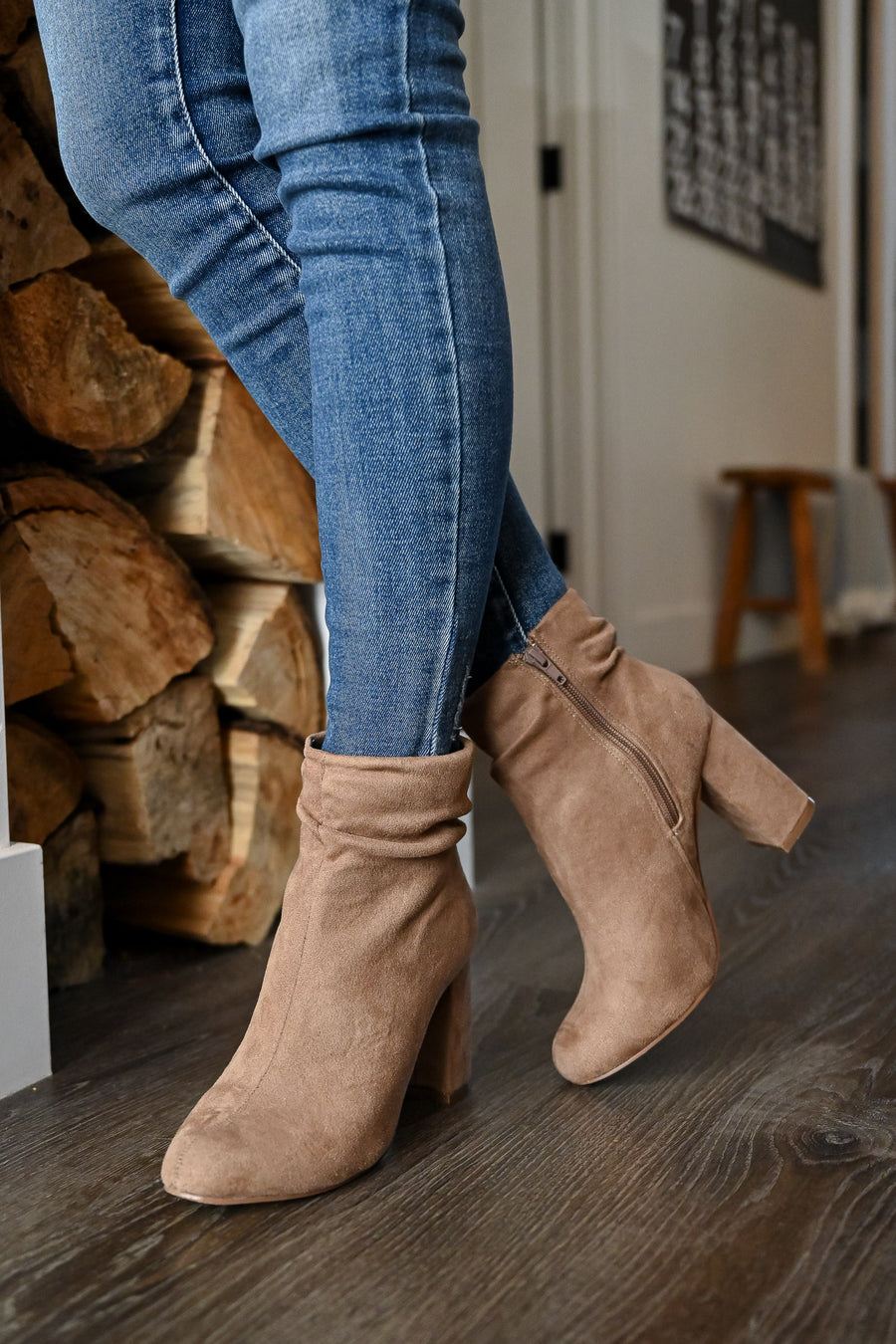 Annie Slouchy Ankle Booties - Taupe womens trendy began suede taupe slouchy ankle booties closet candy side