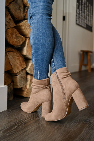 Annie Slouchy Ankle Booties - Taupe womens trendy began suede taupe slouchy ankle booties closet candy side 2