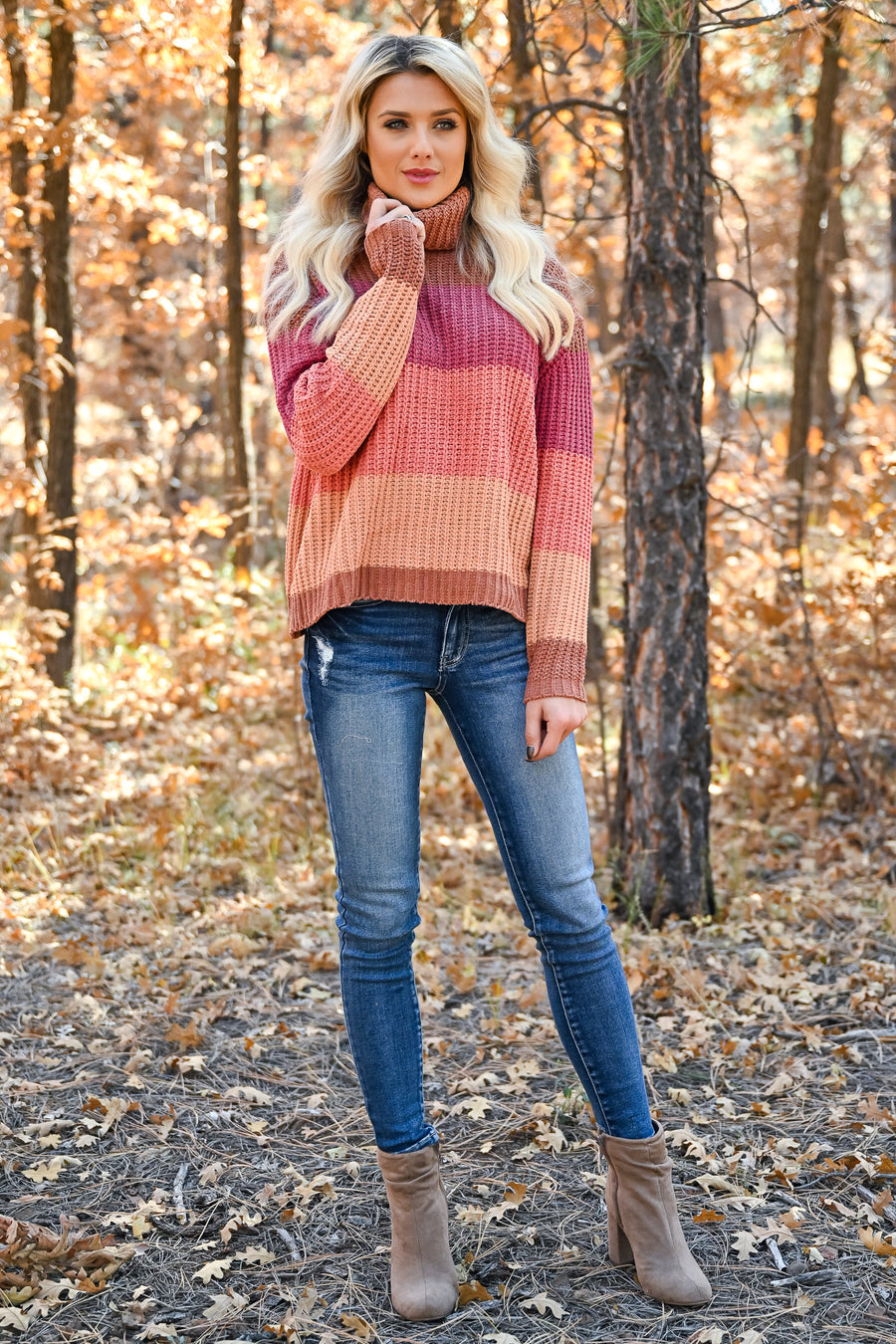 Where You Are Color Block Sweater - Multi womens trendy cropped cowl neck long sleeve color block sweater closet candy front