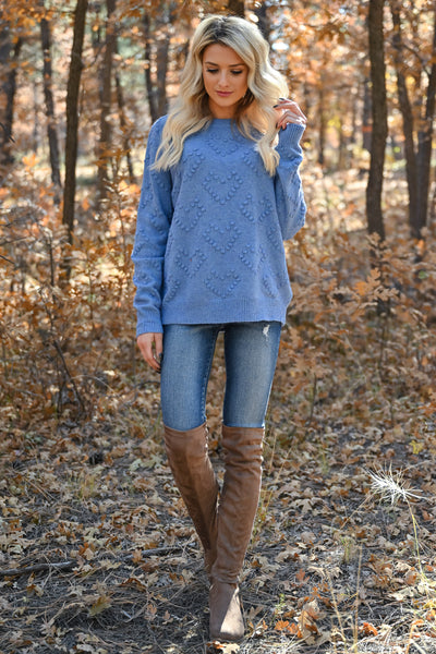 Heart on Your Sleeve Sweater - Blue womens textured heart pullover sweater closet candy front 2