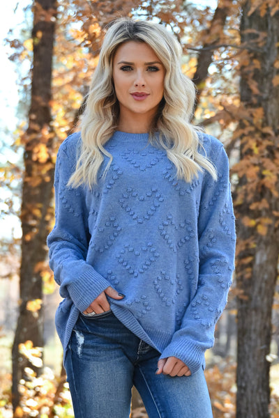 Heart on Your Sleeve Sweater - Blue womens textured heart pullover sweater closet candy close