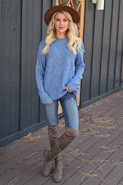 Heart on Your Sleeve Sweater - Blue womens textured heart pullover sweater closet candy front