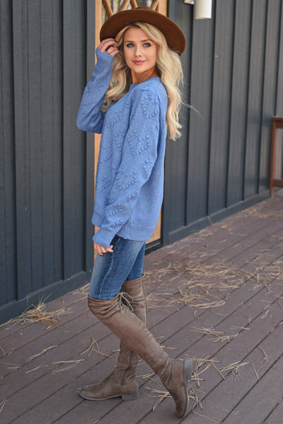 Heart on Your Sleeve Sweater - Blue womens textured heart pullover sweater closet candy side