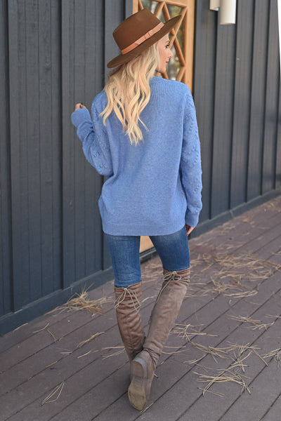 Heart on Your Sleeve Sweater - Blue womens textured heart pullover sweater closet candy back