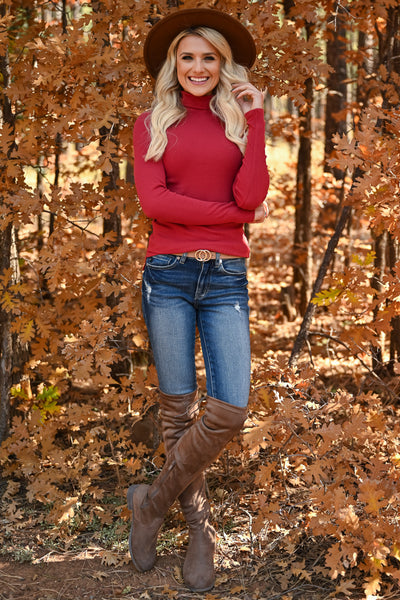 Let It Go Turtleneck Top - Marsala womens trendy ribbed knit long sleeve turtleneck top closet candy front 2