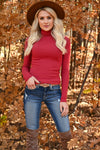 Let It Go Turtleneck Top - Marsala womens trendy ribbed knit long sleeve turtleneck top closet candy front