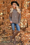 You'll Go Far Off The Shoulder Sweater - Mocha womens trendy ribbed knit asymmetrical hem line long sleeve sweater closet candy front