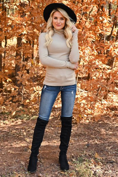 Let It Go Turtleneck Top - Taupe womens trendy ribbed knit long sleeve turtleneck closet candy front