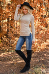 Let It Go Turtleneck Top - Taupe womens trendy ribbed knit long sleeve turtleneck closet candy side