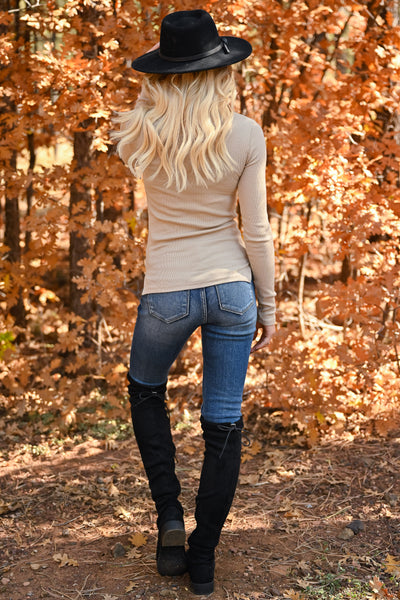 Let It Go Turtleneck Top - Taupe womens trendy ribbed knit long sleeve turtleneck closet candy back