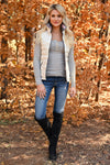 Worth It Long Sleeve Top - Grey womens casual long sleeve knit henley top closet candy with vest