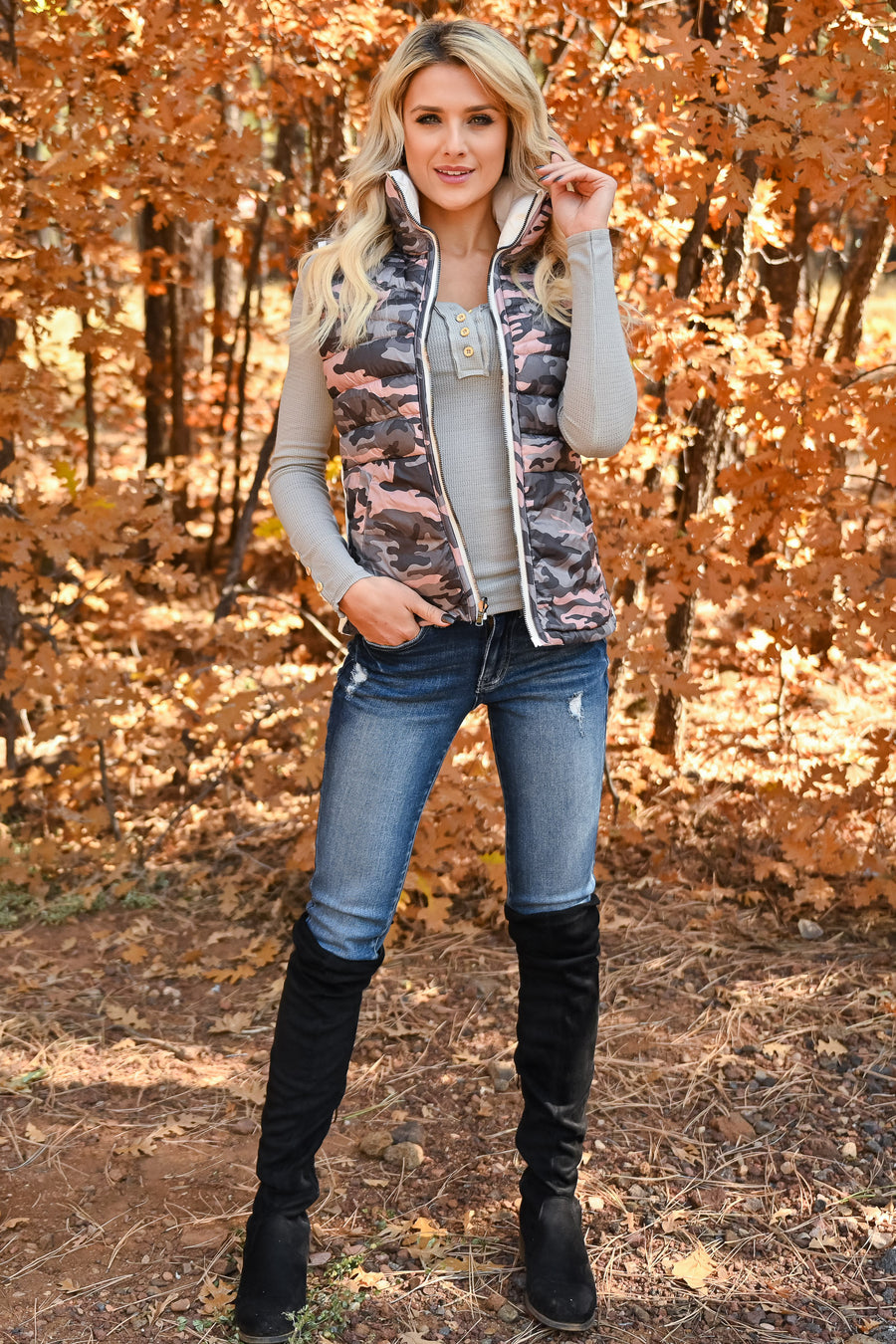 Reverse Reverse Camo Vest - Ivory womens reversible high neck puffer vest with zipper closet candy front