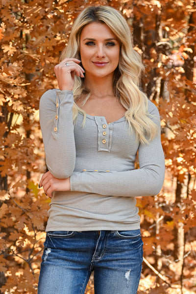 Worth It Long Sleeve Top - Grey womens casual long sleeve knit henley top closet candy front