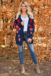 Love Can Wait Cardigan - Navy womens spotted oversized knit cardigan with long sleeves and drop shoulder closet candy front