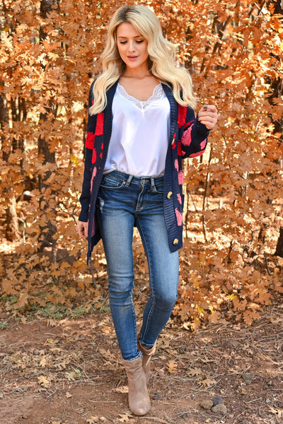 Love Can Wait Cardigan - Navy womens spotted oversized knit cardigan with long sleeves and drop shoulder closet candy front 2