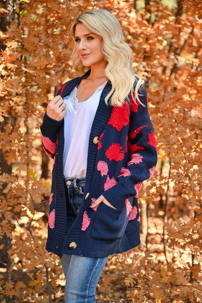 Love Can Wait Cardigan - Navy womens spotted oversized knit cardigan with long sleeves and drop shoulder closet candy side