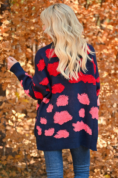 Love Can Wait Cardigan - Navy womens spotted oversized knit cardigan with long sleeves and drop shoulder closet candy back