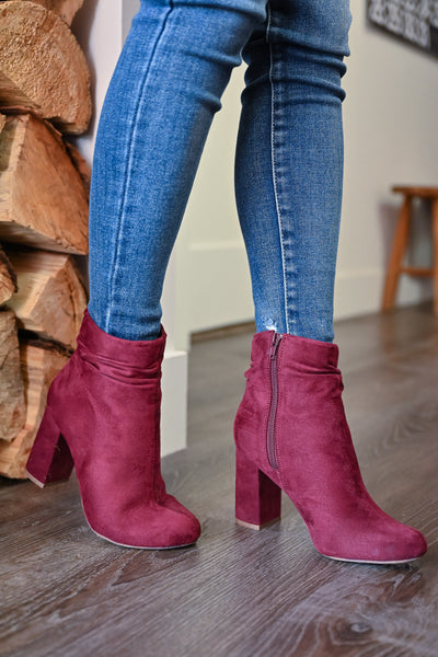 Annie Slouchy Ankle Booties - Wine womens trendy vegan suede chunky heel bootie closet candy side 2