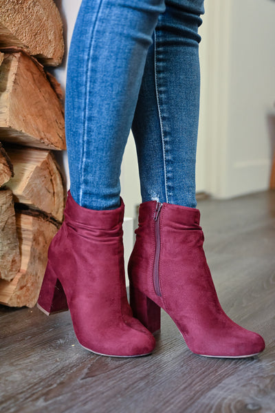 Annie Slouchy Ankle Booties - Wine womens trendy vegan suede chunky heel bootie closet candy side