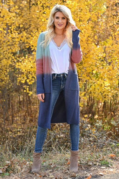 Here With You Ombre Cardigan - Multi womens long sleeve ombre duster cardigan closet candy front