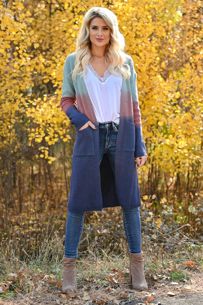 Here With You Ombre Cardigan - Multi womens long sleeve ombre duster cardigan closet candy front 2