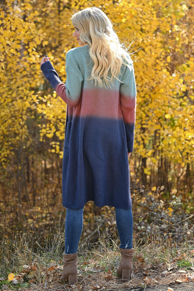 Here With You Ombre Cardigan - Multi womens long sleeve ombre duster cardigan closet candy back