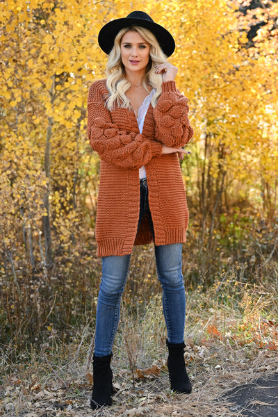 Go Ahead Now Cardigans womens trendy oversized open front chunky knit puff sleeve cardigan closet candy rust front