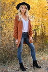 Go Ahead Now Cardigans womens trendy oversized open front chunky knit puff sleeve cardigan closet candy rust side