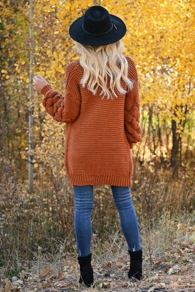 Go Ahead Now Cardigans womens trendy oversized open front chunky knit puff sleeve cardigan closet candy rust back