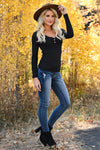 Worth It Long Sleeve Top - Black womens casual long sleeve henley knit top with buttons closet candy side