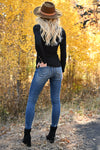Worth It Long Sleeve Top - Black womens casual long sleeve henley knit top with buttons closet candy back